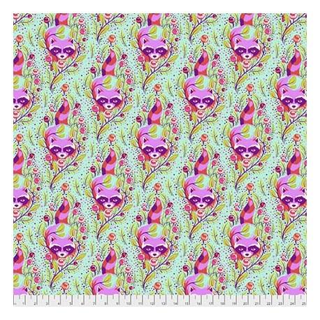 Tissu patchwork Tula Pink ratons laveurs verts fond écru - All Stars