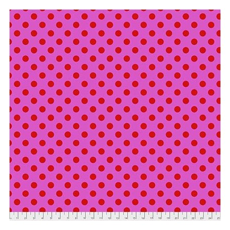 Tissu patchwork Tula Pink pois rouges fond rose Pivoine - All Stars