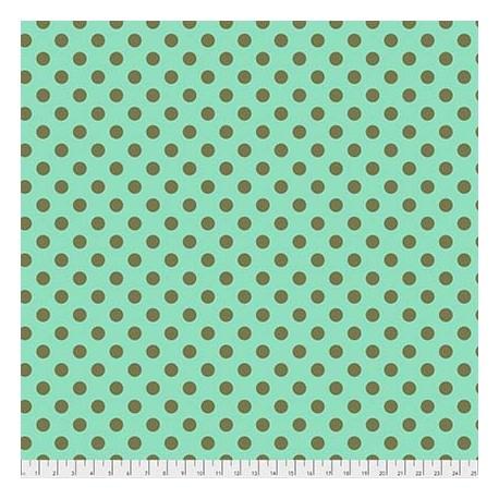 Tissu patchwork Tula Pink pois kaki fond vert Agave - All Stars