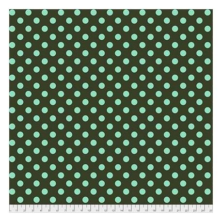 Tissu patchwork Tula Pink pois lagon fond vert Fougère - All Stars