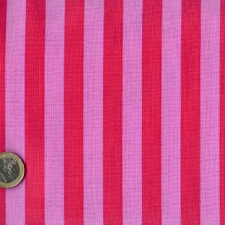 Tissu patchwork Tula Pink rayures rose pâle et rouge Coquelicot - All Stars