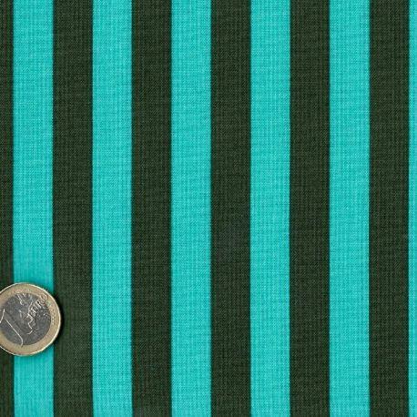 Tissu patchwork Tula Pink rayures lagon et vert foncé Fougère - All Stars