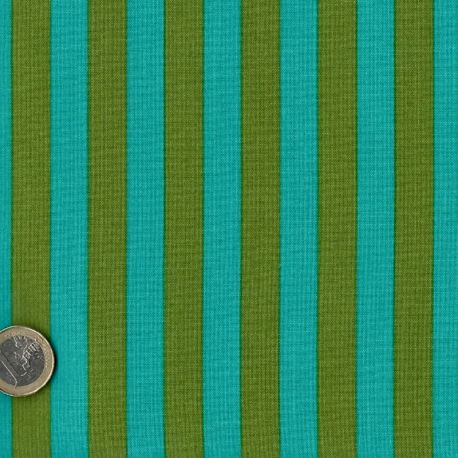 Tissu patchwork Tula Pink rayures lagon et kaki Agave - All Stars