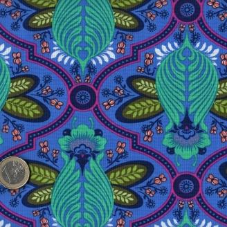 Tissu patchwork Tula Pink abeilles lagon fond bleu Iris - All Stars