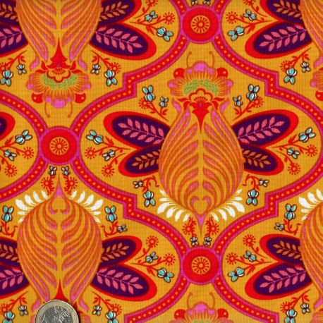 Tissu patchwork Tula Pink abeilles roses fond jaune - All Stars