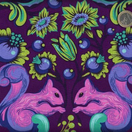 Tissu patchwork Tula Pink écureuil violet - All Stars