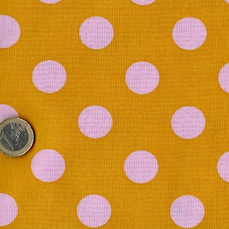Tissu patchwork Tula Pink pois blancs fond jaune Bouton d'Or - All Stars
