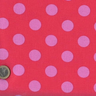 Tissu patchwork Tula Pink pois roses fond rouge Coquelicot - All Stars