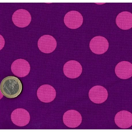 Tissu patchwork Tula Pink pois roses fond violet - All Stars
