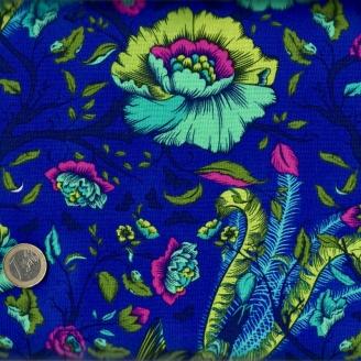 Tissu patchwork Tula Pink oiseaux fond bleu indigo - All Stars