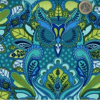 Tissu patchwork Tula Pink hiboux bleu et vert - All Stars