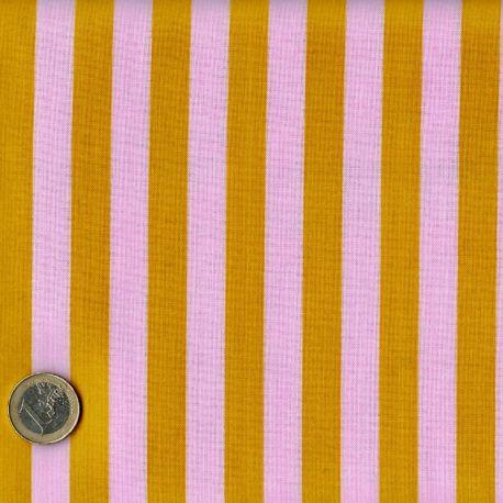 Tissu patchwork Tula Pink rayures rose pâle et jaune - All Stars