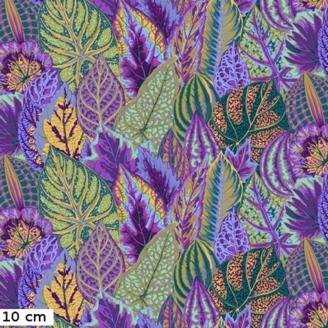 Tissu Philip Jacobs grandes feuilles de Coleus vertes et violettes PJ030
