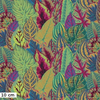 Tissu Philip Jacobs grandes feuilles de Coleus vertes et oranges PJ030