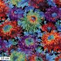 Tissu Philip Jacobs - Grandes fleurs Shaggy fond noir