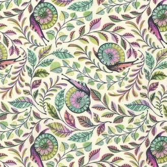 Tissu patchwork Tula Pink escargots fond écru Pit crew - Slow & steady