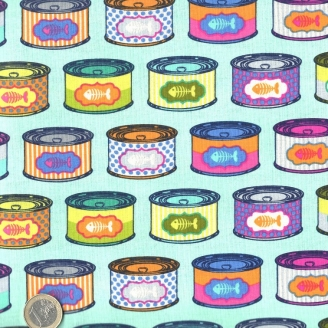 Tissu patchwork Tula Pink - Boites de sardines fond turquoise - Tabby Road