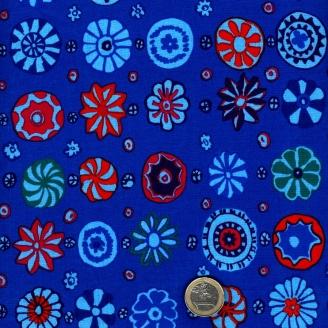 Tissu Kaffe Fassett tourbillons fond bleu cobalt GP166