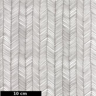 Tissu patchwork chevrons taupe fond blanc cassé - Catnip