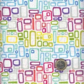 Tissu patchwork rectangles multicolores fond blanc cassé