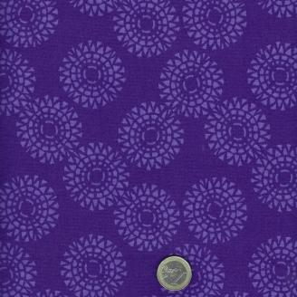 Tissu patchwork soleils fond violet - Voyage de Kate Spain