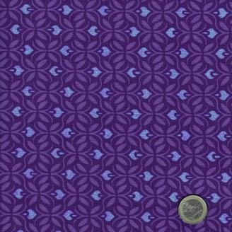Tissu patchwork lierre abstrait mauve et bleu fond violet - Voyage de Kate Spain