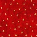 Tissu Gustav Klimt triangles dorés fond rouge