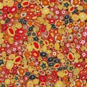 Tissu Gustav Klimt Millefiori doré et rouge
