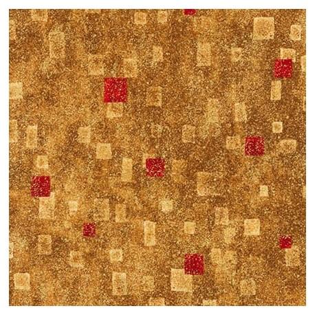 Tissu Gustav Klimt rectangles rouges fond ocre doré