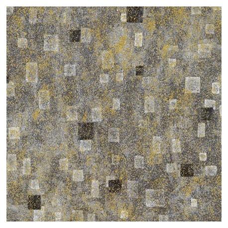 Tissu Gustav Klimt rectangles noirs fond gris doré