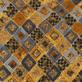 Tissu Gustav Klimt damier gris ocre doré