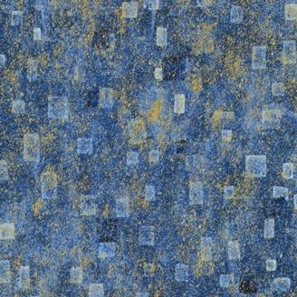 Tissu Gustav Klimt rectangles fond bleu doré