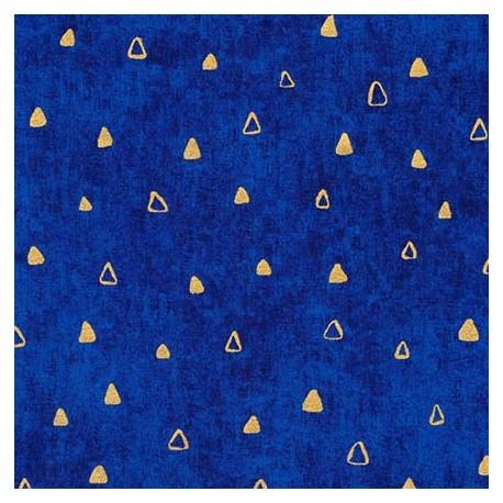 Tissu Gustav Klimt triangles dorés fond bleu