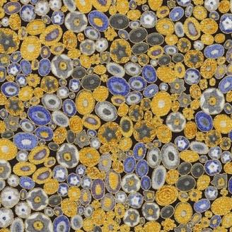 Tissu Gustav Klimt Millefiori doré et bleu