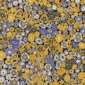 Tissu Gustav Klimt Millefiori doré et bleu_