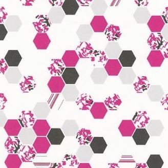 Tissu pacthwork hexagones roses et gris fond blanc - Palm Canyon