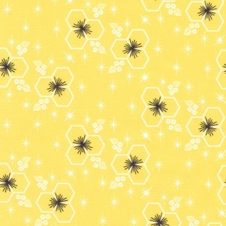 Tissu pacthwork fleurs hexagonales fond jaune citron - Palm Canyon