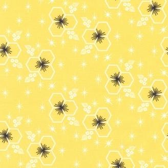 Tissu patchwork fleurs hexagonales fond jaune citron - Palm Canyon