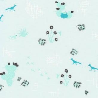 Tissu pacthwork oiseaux et cactus fond bleu ciel - Palm Canyon