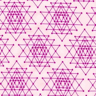 Tissu patchwork grandes étoiles fond rose - Palm Canyon