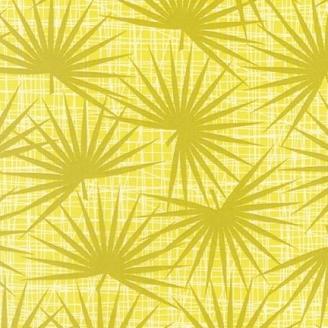 Tissu pacthwork Aloe vert fond jaune - Palm Canyon
