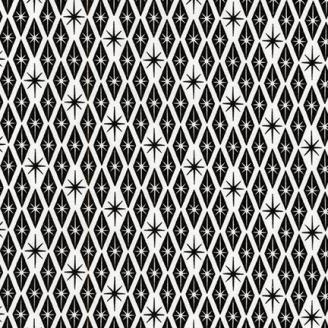 Tissu pacthwork losanges étoilés noir et blanc - Palm Canyon