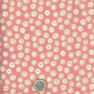 Tissu patchwork fleurette fond corail - To the Zoo