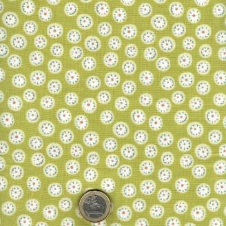 Tissu patchwork fleurette fond vert - To the Zoo