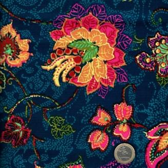 Tissu patchwork effet fleurs brodées fond marine - Junebee