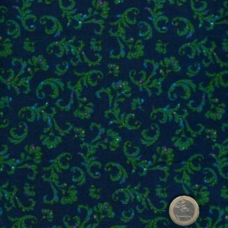 Tissu patchwork arborecences vertes fond marine - Ashtyn