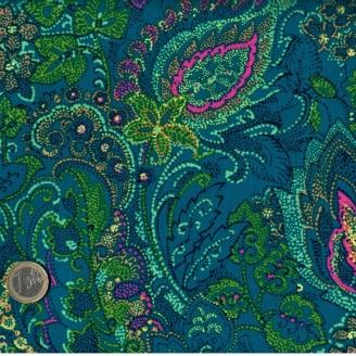 Tissu patchwork fleurs pointillisme fond bleu canard- Ashtyn
