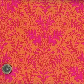 Tissu patchwork fleurs fuchsia fond orange - Ashtyn