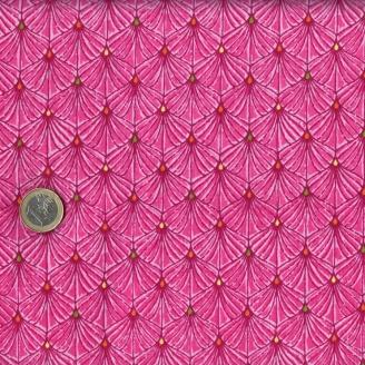 Tissu patchwork palmes fond fuchsia - Ashtyn