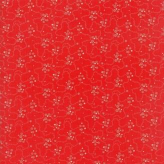 Tissu patchwork classique entrelacs fond rouge - Farmhouse Reds